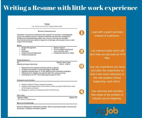 building a resume with no work experience how to write the resume with to no experience exle included zipjob