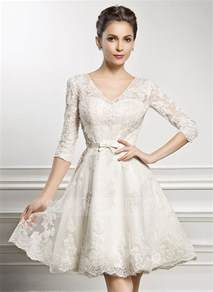 brautkleid princess a line princess v neck knee length lace wedding dress with bow s 002056986 jjshouse