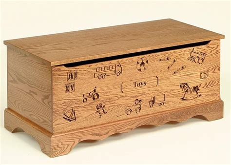 oak wood toy chest  carving  optional engraving