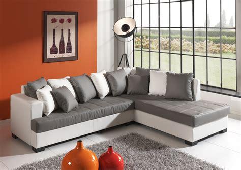 but canapé canapé d 39 angle design en pu gris blanc eros salon