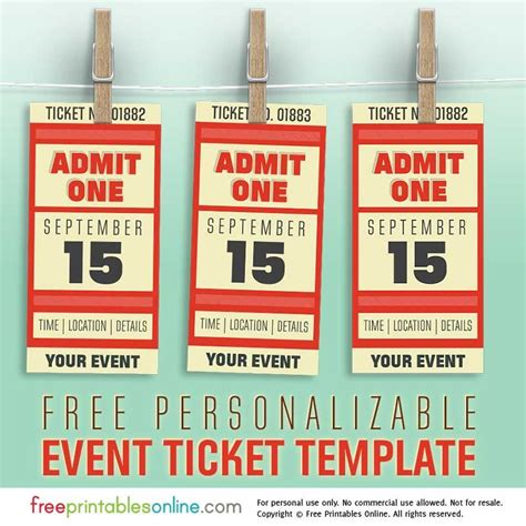 Ticket Templates Online Free by Free Personalized Event Ticket Template Free Printables