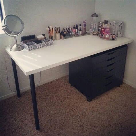 Linnmon Alex Desk Reddit by My Makeup Vanity White Quot Linnmon Quot Table Top 26 Black