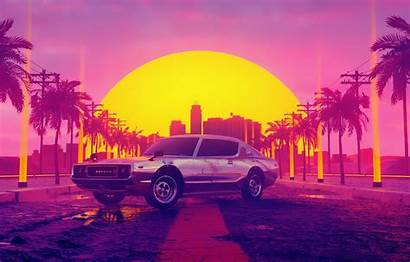 Vice Sunset Neon 80s Background Dawn Sun