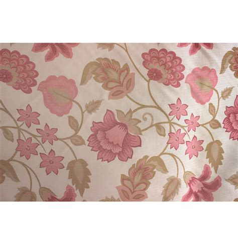 pink floral garden printed sheer curtain fabric window