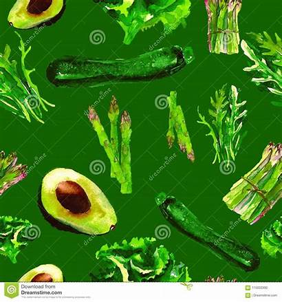 Pattern Repeatable Vegetables Seamless Drawn Watercolor Healthy