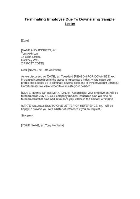 terminating employee due  downsizing sample letter