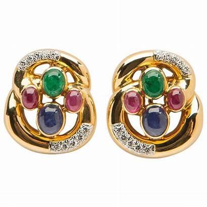 Ruby Emerald Sapphire Earrings Webb Diamond David