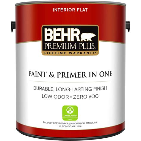 Behr Premium Plus 1 Gal Ultra Pure White Flat Zero Voc