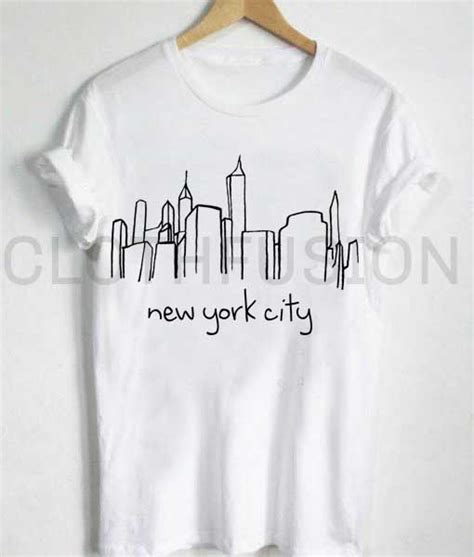 T Shirt Kaos New York unisex premium new york city skyline t shirt design