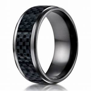 men39s black titanium wedding band 8mm promise ring w With carbon fiber mens wedding ring