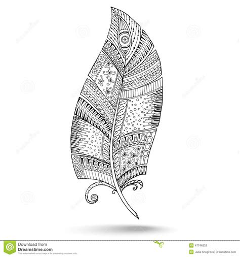 ethnic doodle feather  white background stock vector