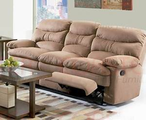Harmon dual reclining sofa in mocha brown microfiber by for Mocha brown microfiber reclining sectional sofa