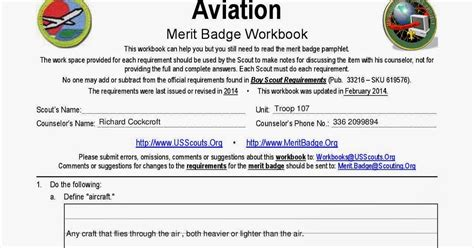 aviation merit badge worksheet calleveryonedaveday