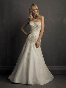 a line strapless satin organza wedding dress with With pearl wedding dresses
