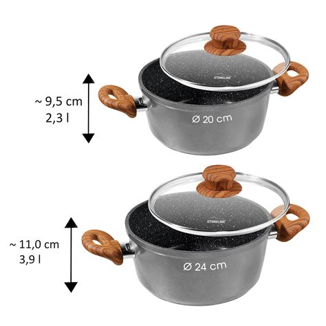 stoneline   nature cooking pot  cm  glass lid   germany cooking pots