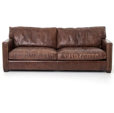 Aged Leather Sofa by Larkin 3 Seater Vintage Cigar Contemporary Leather Sofa