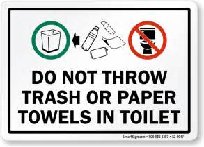 Design Bathroom Trash Can by No Waste In Toilet Signs
