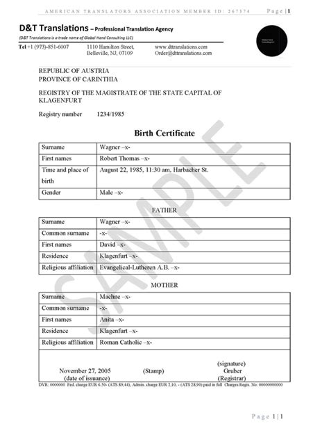 birth certificate translation template translation sles d t translations