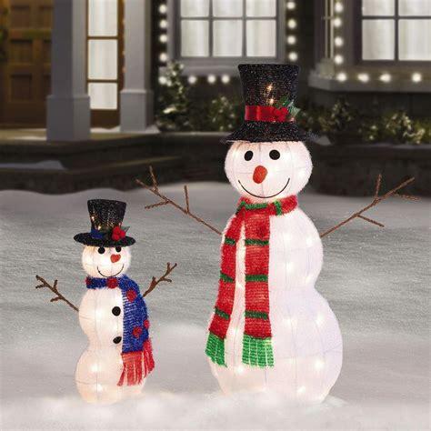 tall pre lit tinsel snowman outdoor christmas
