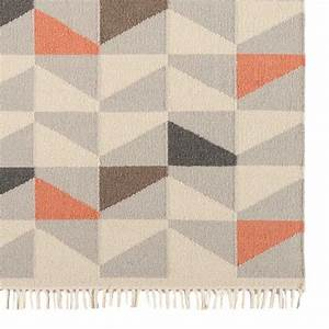 tapis contemporain a motifs geometriques en laine orange With tapis contemporain laine