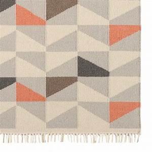 tapis contemporain a motifs geometriques en laine orange With tapis laine contemporain