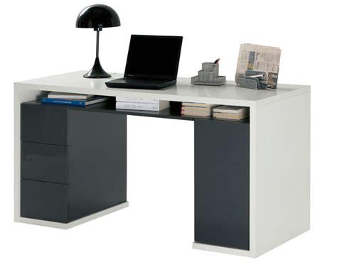 bureau blanc et gris bureau 3 tiroirs 1 porte moneta 2 blanc gris fonce
