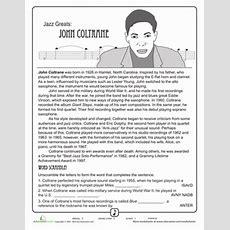 Jazz Greats John Coltrane  Educational  Music Worksheets, Music Lessons, Music Classroom