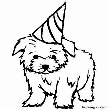 Coloring Pages Dog Printable Maltese Puppy Birthday