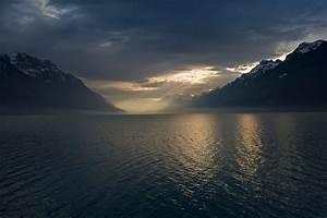 Landscape, Nature, Lake, Mountain, Mist, Sun, Rays, Winter, Dark, Clouds, Snowy, Peak, Birds, Sunlight