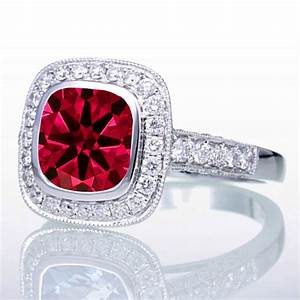 15 carat cushion cut ruby and diamond halo vintage With 5 carat wedding ring