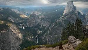 Nature, Landscape, Mountain, Trees, Forest, Usa, Waterfall, Yosemite, National, Park, Rock, Clouds