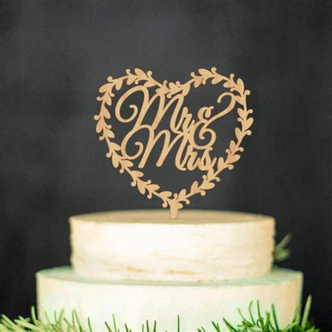Wooden Rose Gold Wedding Cake Topper Mr Mrs In Heart
