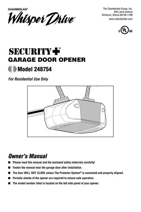 Chamberlain Garage Door Opener Whisper Drive Manual chamberlain whisper drive 248754 user manual 44 pages