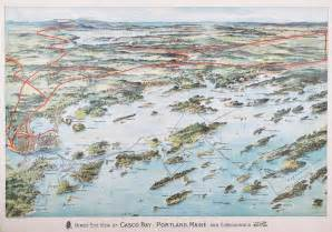 Lovely birds-eye view of Casco Bay - Rare & Antique Maps