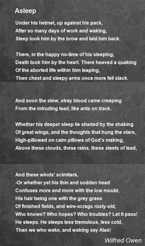 asleep poem  wilfred owen poem hunter