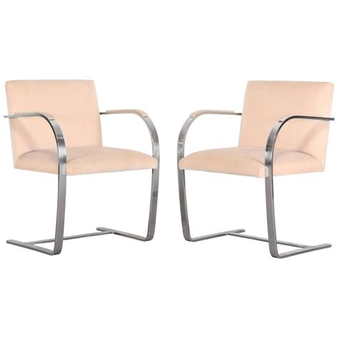 pair of brno stainless steel chairs for knoll 1970 for