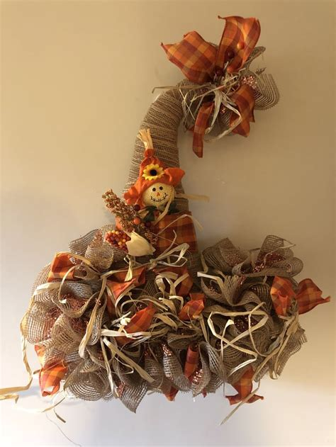 scarecrow fall deco mesh witch hat wreath  images