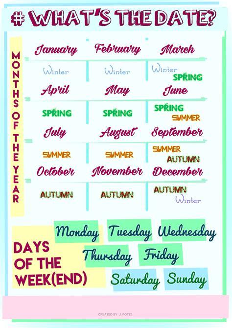 monthsdays   week worksheets