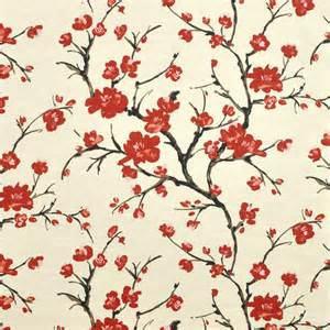 red flowering branch cherry blossom fabric by braemore only