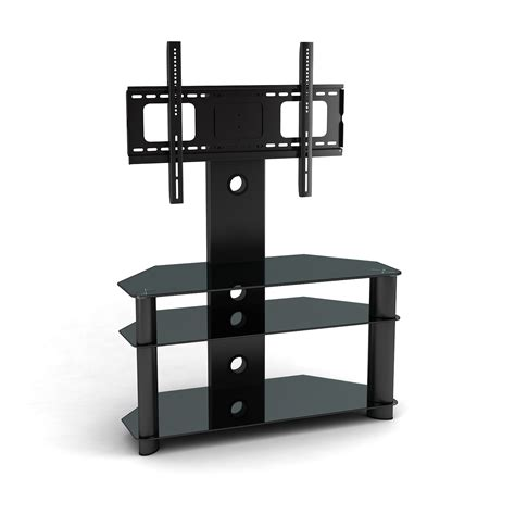 Cool Black Glass And Metal Corner Tv Stand With Mount Also