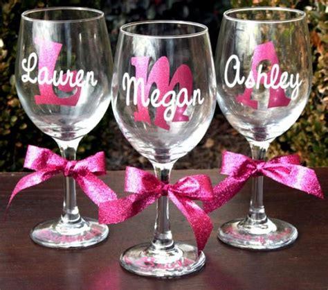 monogrammed bride  bridesmaids sparkling personalized wine glasses  weddbook