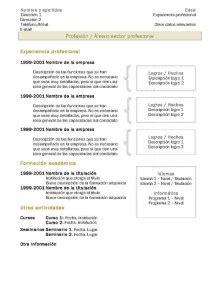 Experience Resume Templates Modèles De Cv Cv Chronologique 2 Modèles De Cv
