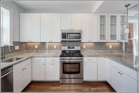White Subway Tile Backsplash With White Cabinets Download