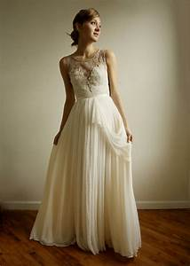 vintage inspired wedding dress with sheer lace neckline With wedding dress vintage style lace