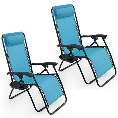 ghp set of 2 sky blue zero gravity recliner chairs