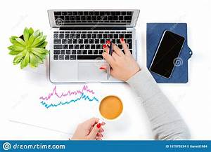 Top, View, Of, Office, Desk, Table, Woman, Holding, Cup, Of, Coffee, And, Working, On, Modern, Laptop, Near