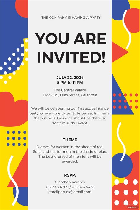 email party invitation template  ms word publisher
