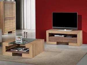 Meuble Tv Chene Massif Moderne : meuble tv ruban en ch ne massif et bois de noyer ~ Teatrodelosmanantiales.com Idées de Décoration