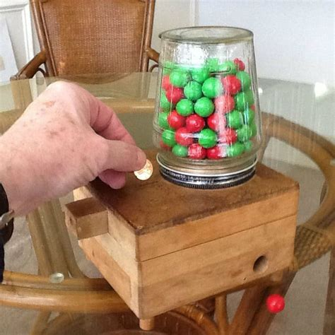 childs wooden coin operated gumball machine