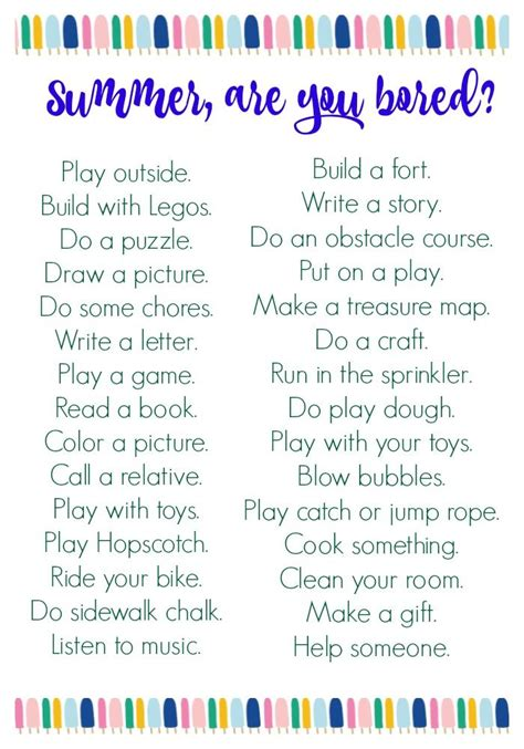 Summer Boredom Busters (Free Printable (With images